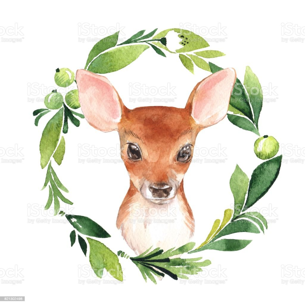 Baby Deer and floral frame royalty-free baby deer and floral frame stock illustration - download image now