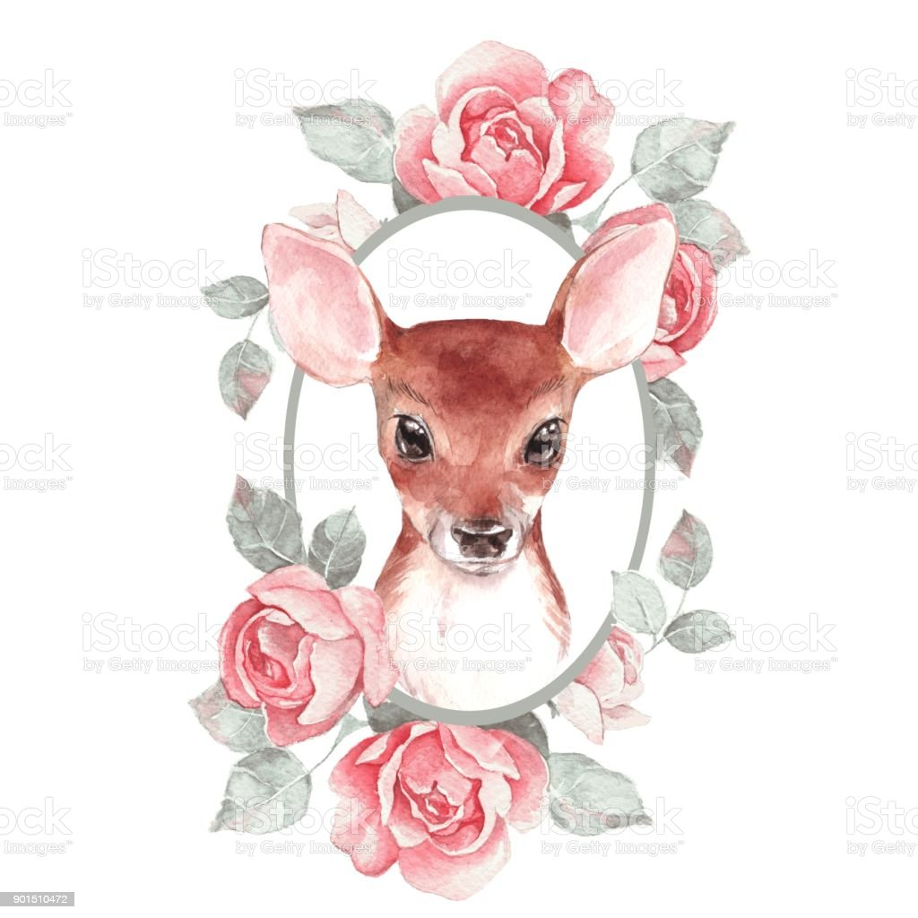 Baby Deer And Flowers Cute Fawn Stock Illustration ...