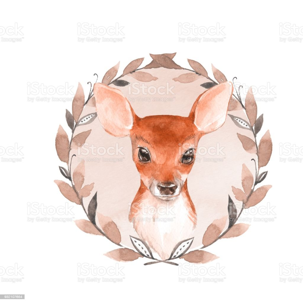 0f10096eb00f8 Baby Deer And Wreath Hand Drawn Cute Fawn Stock Vector Art & More ...