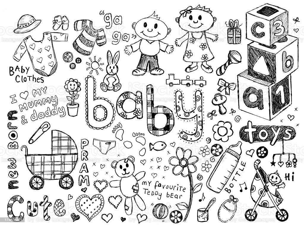 Baby und Kritzeleien – Vektorgrafik