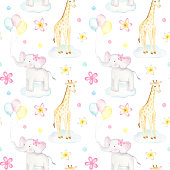Seamless pattern with watercolor baby elephants, giraffes and balloons on white background. Perfect for baby fabric and party wrapping paper.