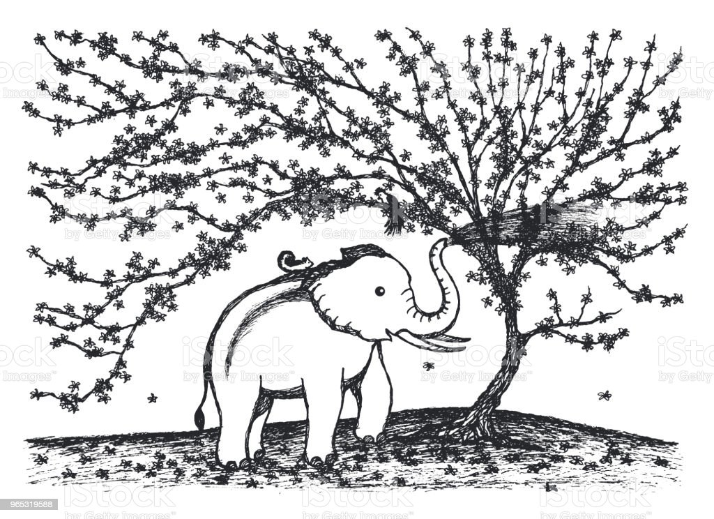 baby elephant playing water under flower tree illustration design royalty-free baby elephant playing water under flower tree illustration design stock vector art & more images of africa