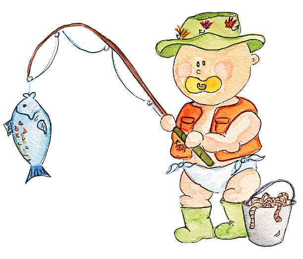 Baby fisherman vector art illustration