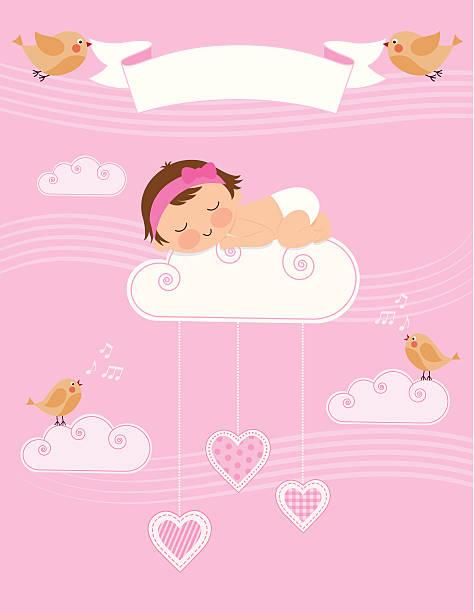 Baby Girl Birth Announcement vector art illustration