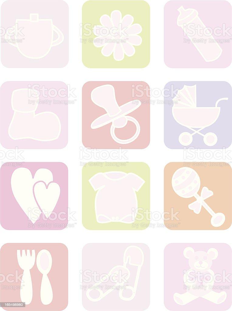 Baby Girl Icons vector art illustration