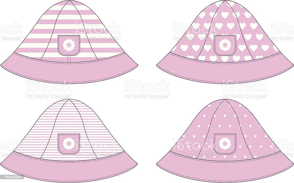 Baby Girls Sun Hat with Daisy Pocket royalty-free stock vector art