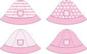 Baby girls pink sun hat in 4 repeat pattern options. All hats have a small pocket with a daisy motif.