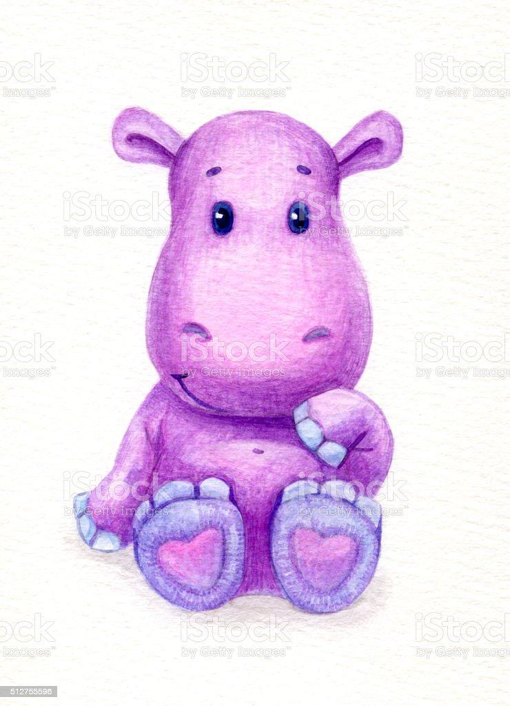 Baby hippopotamus. vector art illustration