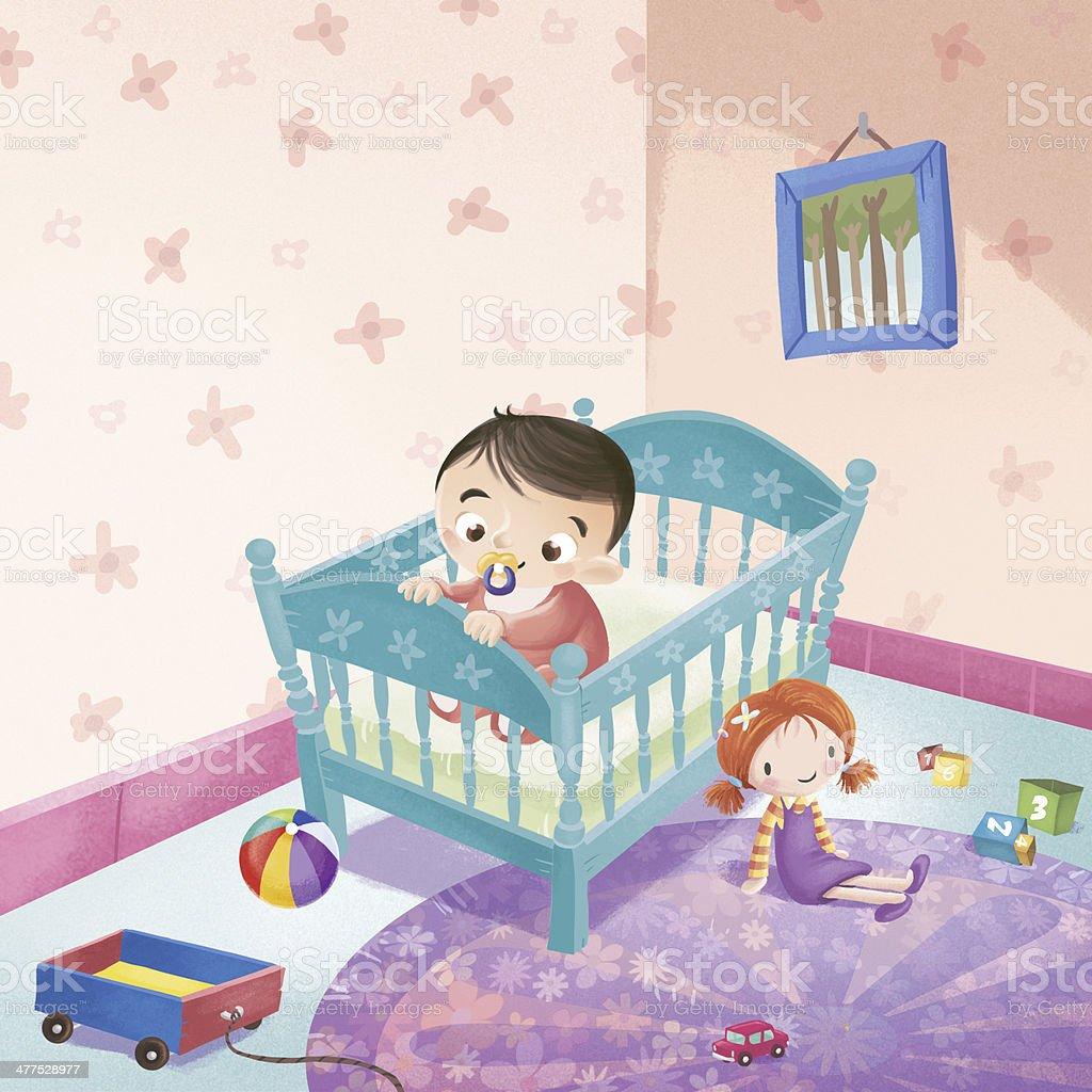 baby in crib vector art illustration