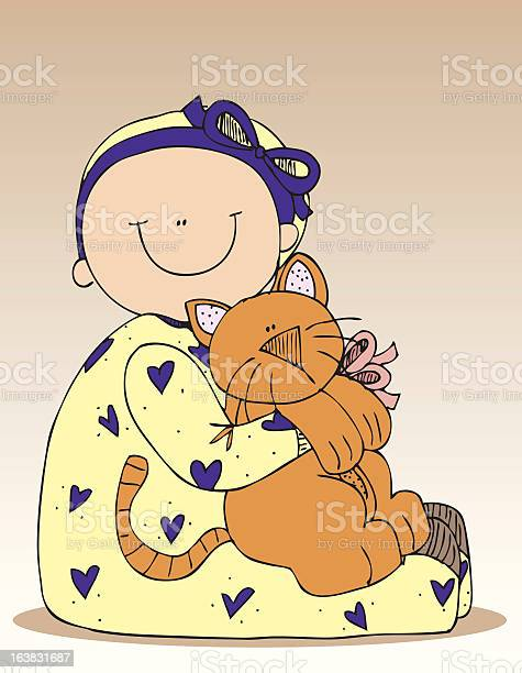 Baby in pajamas holding cat with patterned ears and bow illustration id163831687?b=1&k=6&m=163831687&s=612x612&h= pb 7s9is4rvyx5gxc8vvuyo oxxfpf7ya4bemjz6vu=