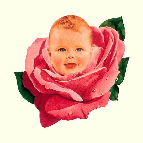 stockillustraties, clipart, cartoons en iconen met baby in pink rose - alleen één jongensbaby