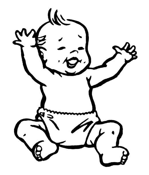 stockillustraties, clipart, cartoons en iconen met baby laughing - alleen één jongensbaby