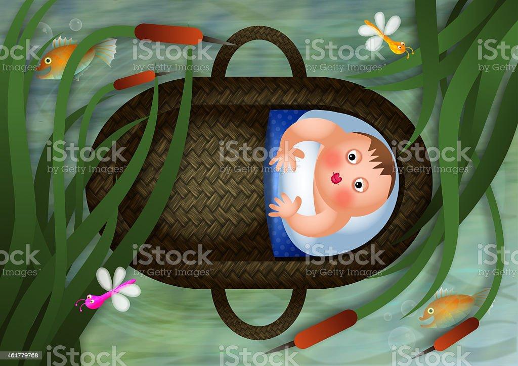 Bébé Moses dans un panier - Illustration vectorielle