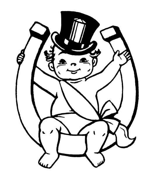 stockillustraties, clipart, cartoons en iconen met baby new year sitting on horseshoe - alleen één jongensbaby