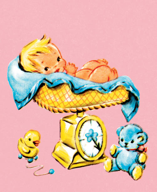 stockillustraties, clipart, cartoons en iconen met baby on scale - alleen één jongensbaby