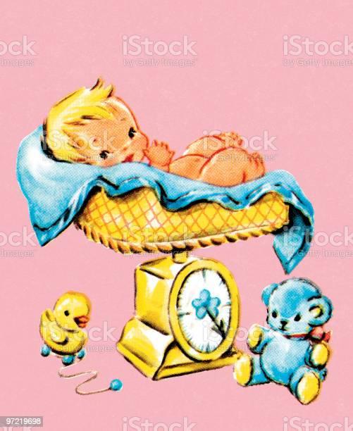 Baby On Scale Stockvectorkunst en meer beelden van 1990-1999