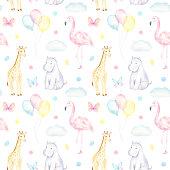 istock Baby Safari Animals Pattern 1203186131