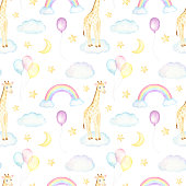 Seamless pattern with watercolor baby giraffes, cute rainbows and clouds on white background. Perfect for baby fabric and party wrapping paper.