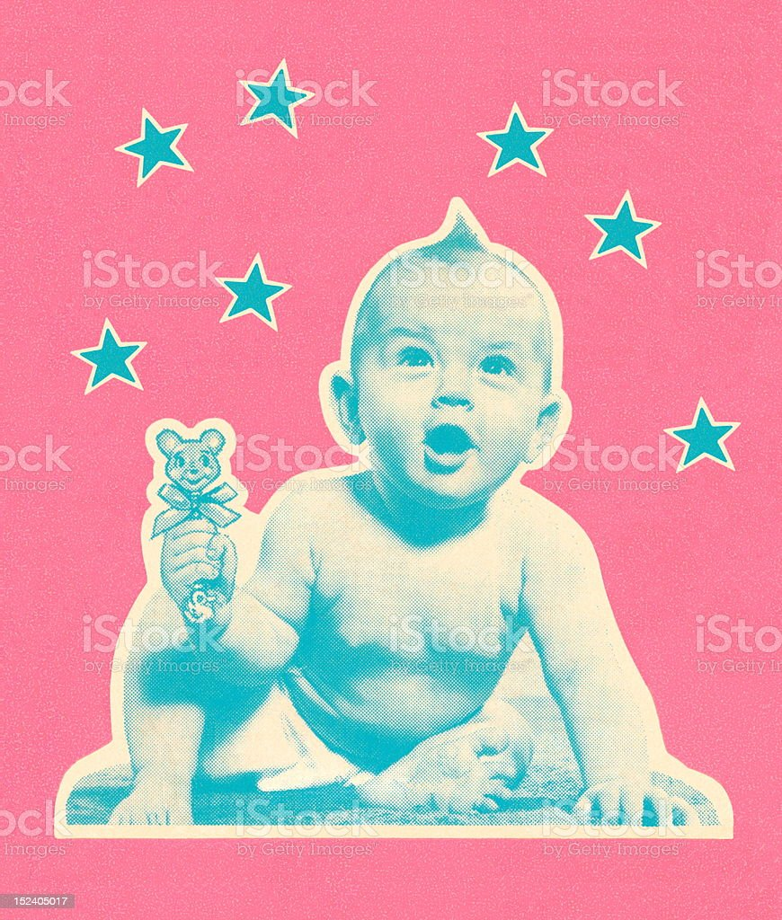 Baby With Stars vector art illustration