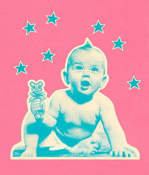 stockillustraties, clipart, cartoons en iconen met baby with stars - alleen één jongensbaby