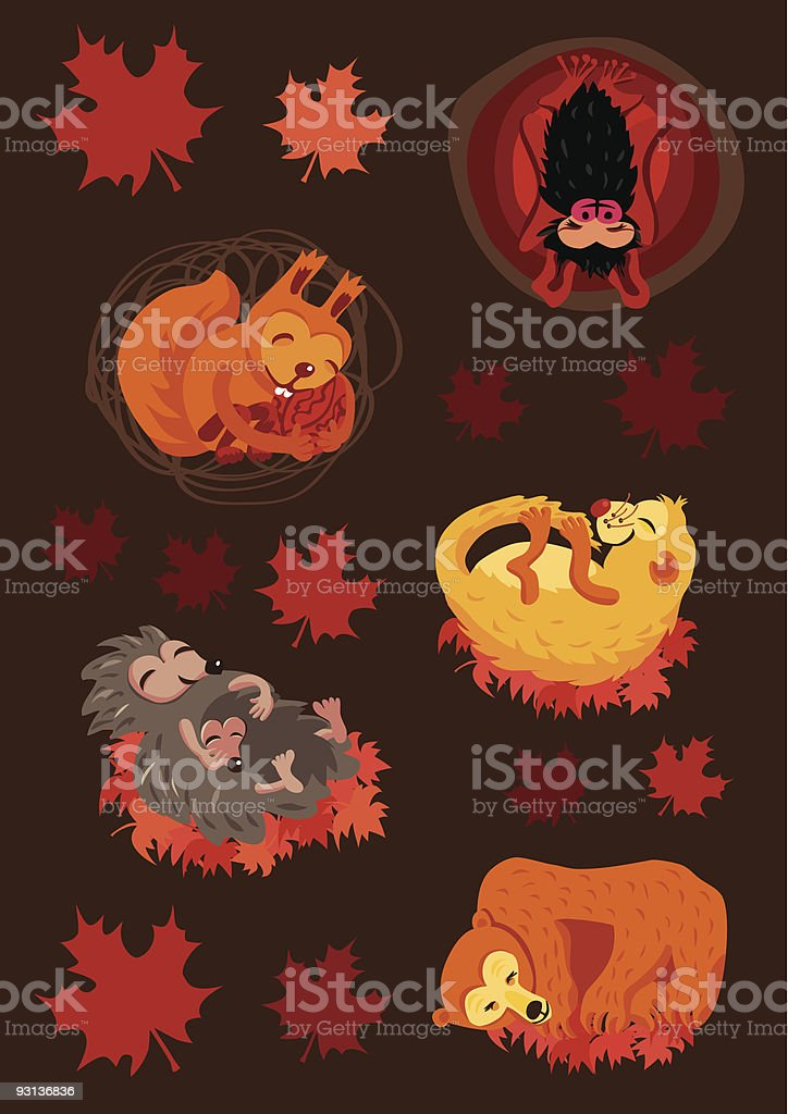 BabyAnimalsInHibernation vector art illustration