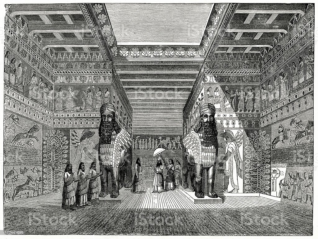 Babylonian Palace Engraving From 1882 Featuring The Interior Of A Babylonian Palace. 19th Century stock illustration