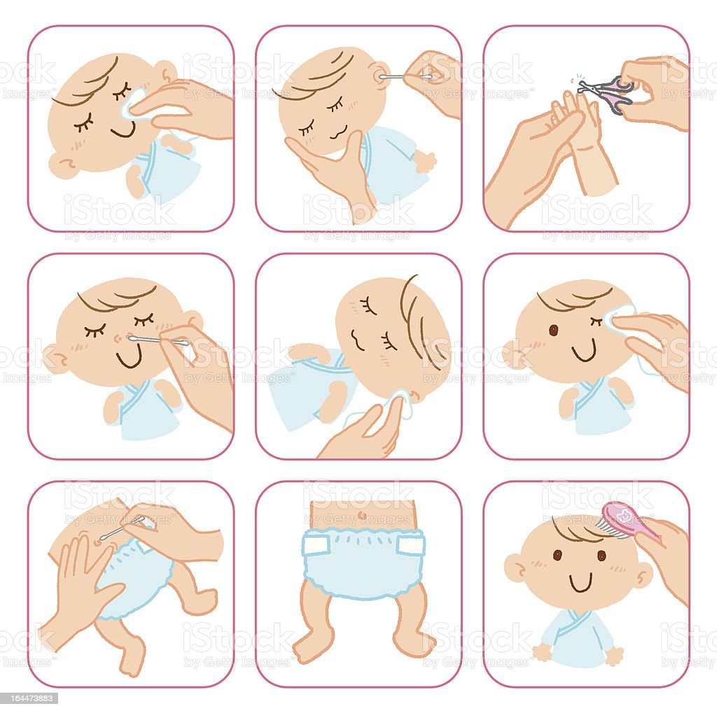 baby's care vector art illustration