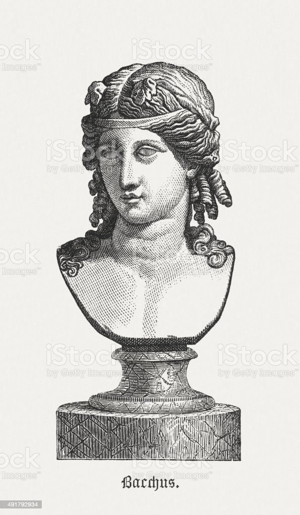 Bacchus Greek God Of Vine Published 1878 Stock Illustration