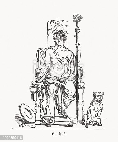 istock Bacchus (Greek: Dionysus) - Roman god of vine, wood engraving, published in 1893 1294850416
