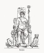 istock Bacchus (Greek: Dionysus) - Roman god of vine, wood engraving, published in 1893 1294850416