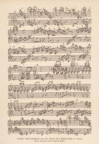 Bach's manuscript, Fantasia and Fugue for keyboard, facsimile, published 1885