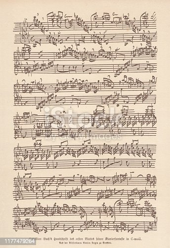 Johann Sebastian Bach's manuscript of the first sheet of his Fantasia and Fugue for keyboard in C minor. Facsimile of the original, published in 1885.