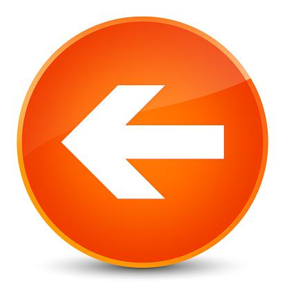 Back arrow icon elegant orange round button