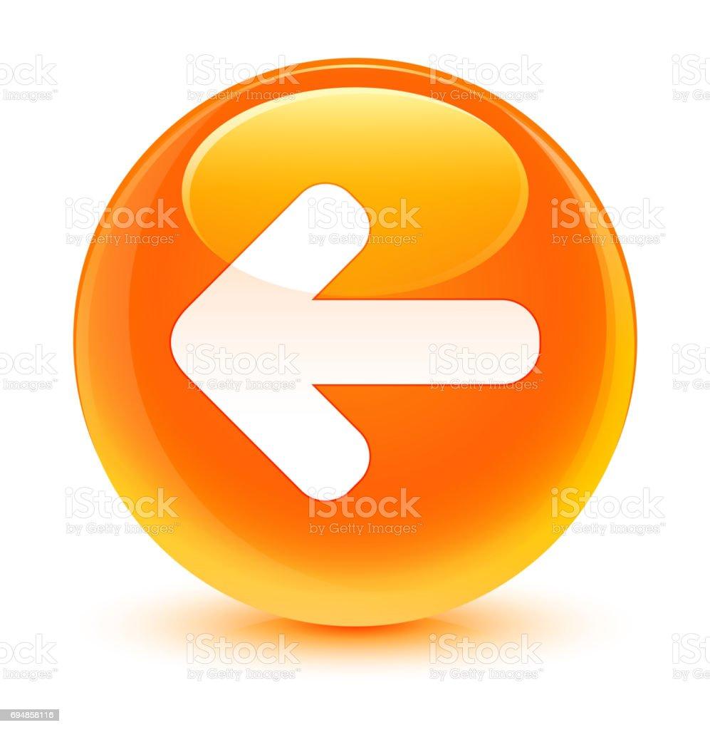 back arrow icon glassy orange round button stock vector