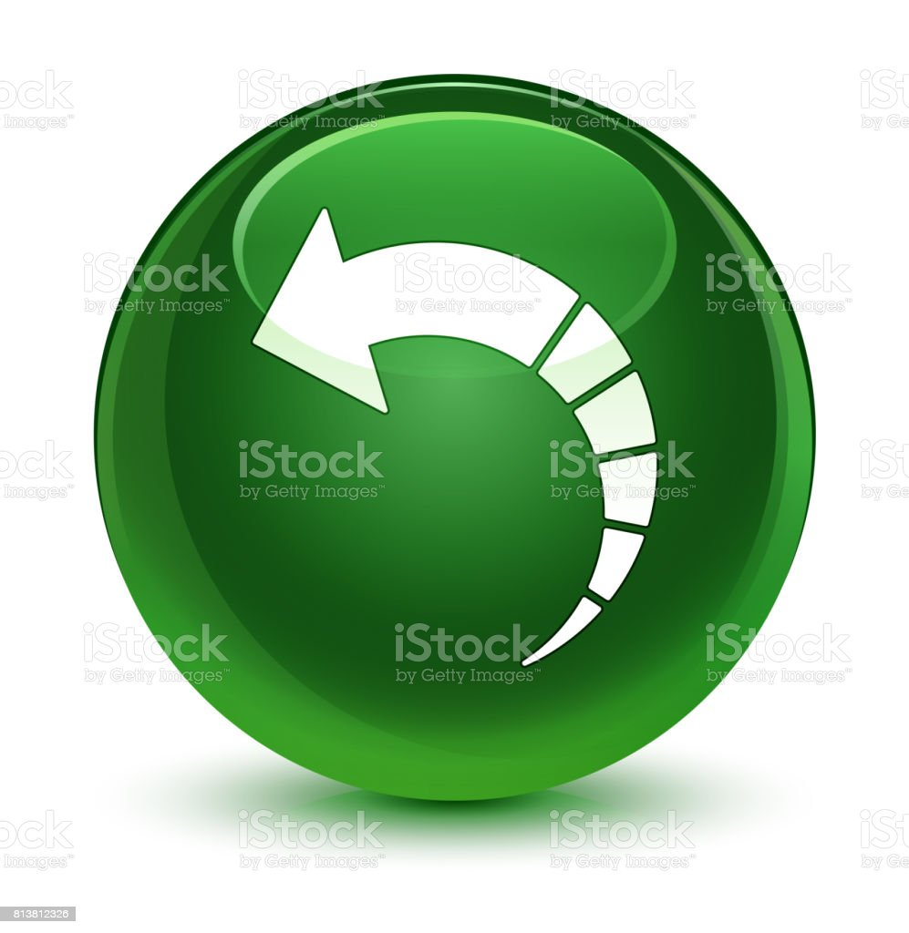 Back Arrow Icon Glassy Soft Green Round Button Stock Vector Art