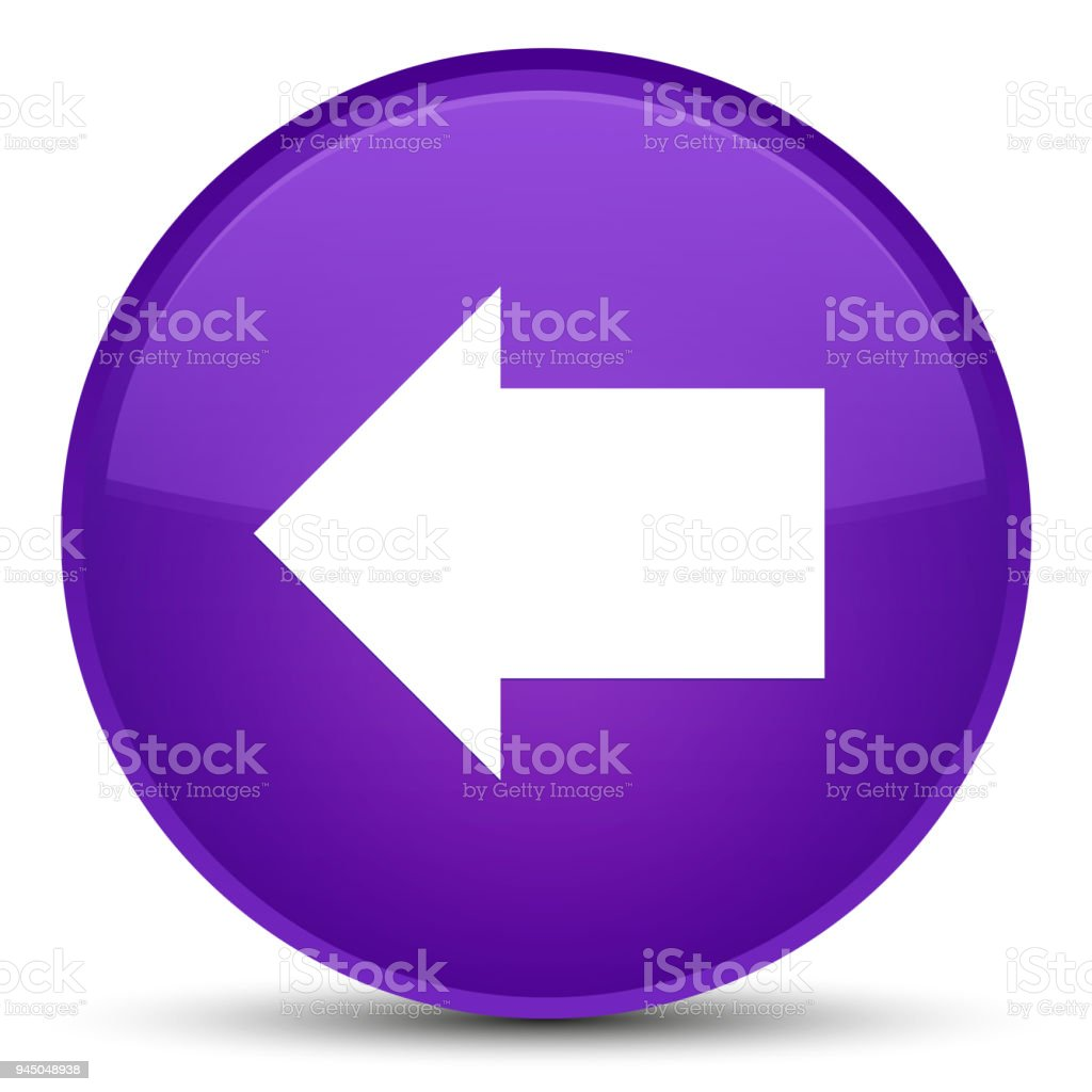 Back arrow icon special purple round button vector art illustration
