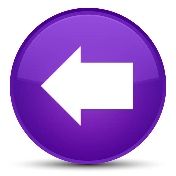 Back arrow icon special purple round button vector art illustration