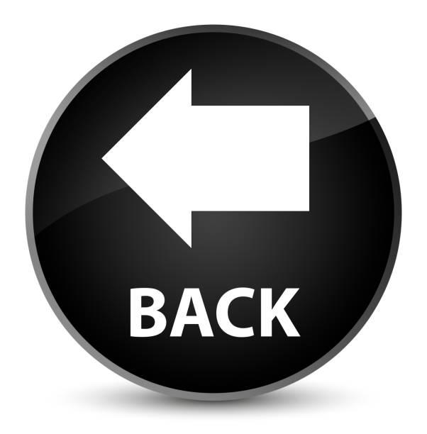 Back elegant black round button vector art illustration