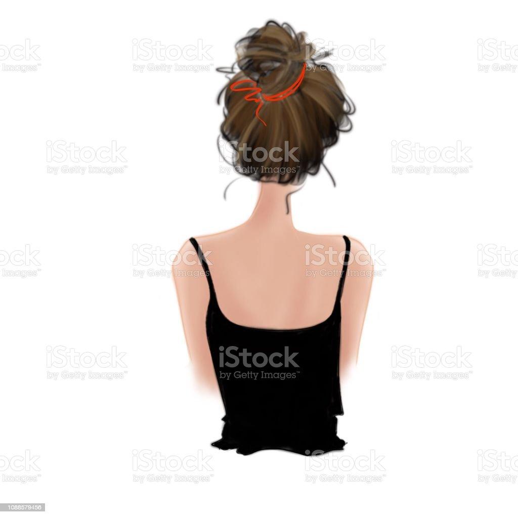 おだんごヘアの女の子の後姿 1人のベクターアート素材や画像を