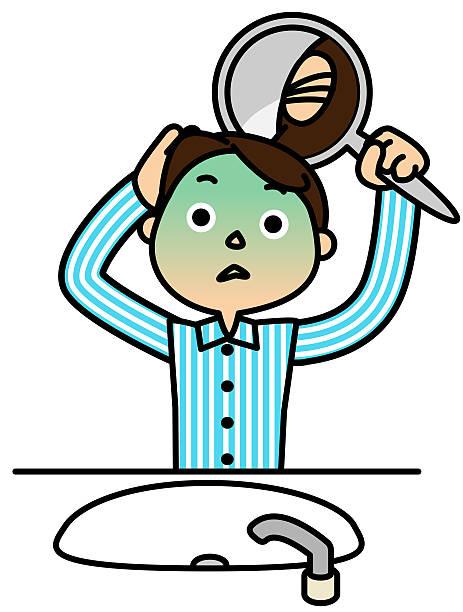 Back of the head. Shock. Baldness vector art illustration
