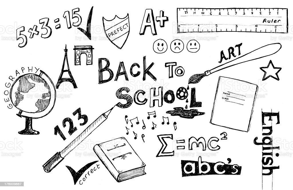 Zurück zu Schule und Kritzeleien – Vektorgrafik