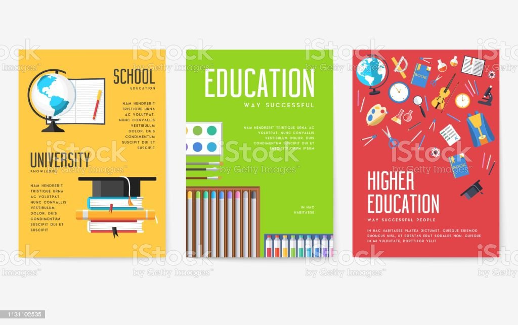 Back to school information cards set. Student template of flyer,...