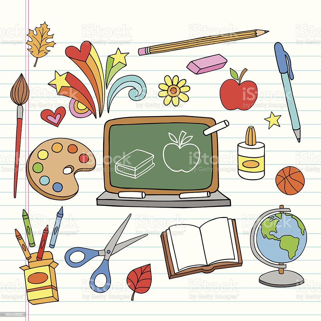 Back to School Supplies Notebook Doodles Vector Set vector art illustration