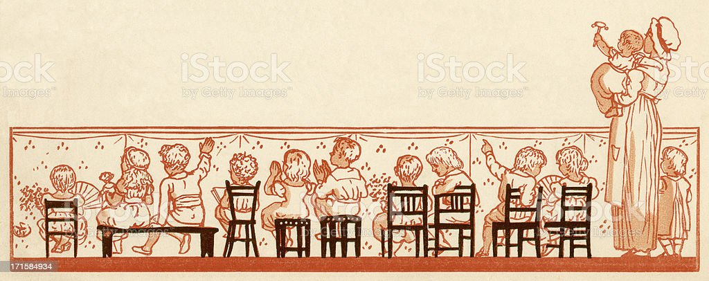 Back view of Victorian children applauding royalty-free stock vector art