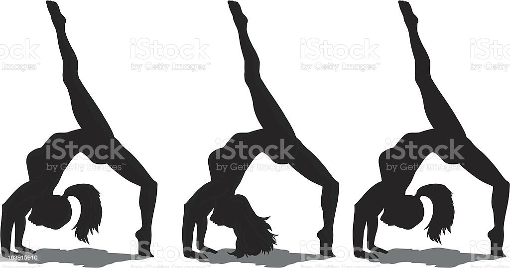 Backflip girl vector art illustration