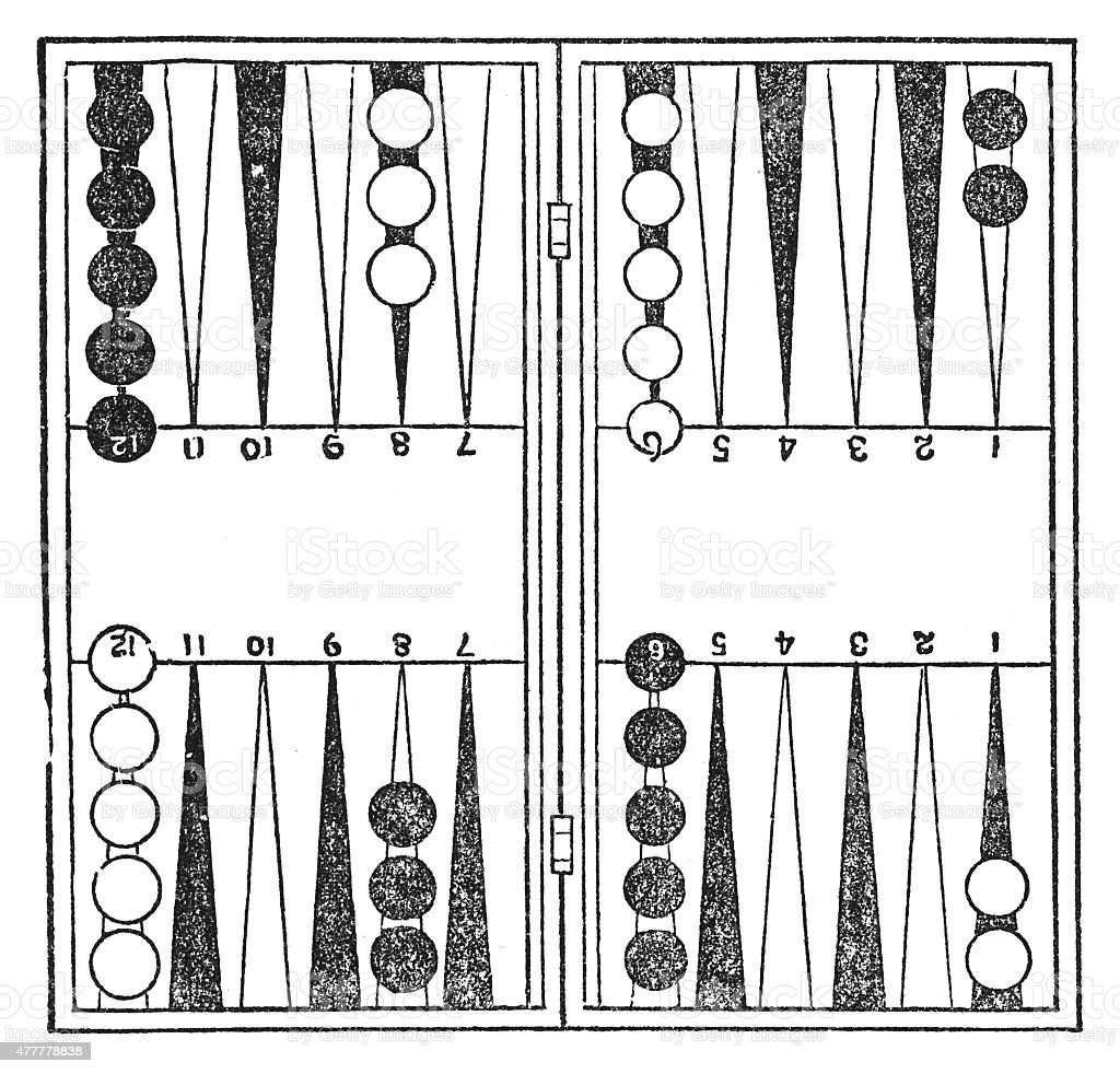 Backgammon (antique engraving) vektör sanat illüstrasyonu