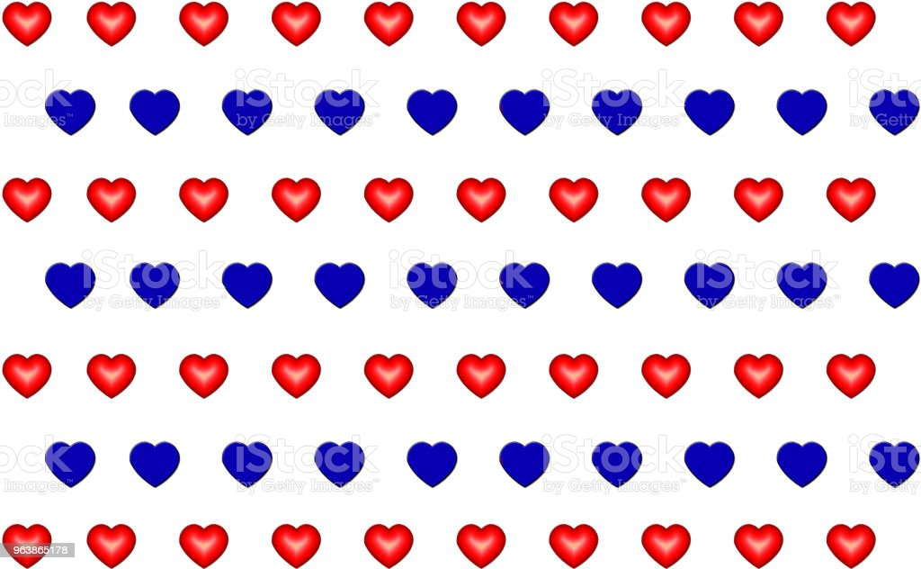 background abstract row of red blue hearts on white background endless row - Royalty-free Abstract stock illustration