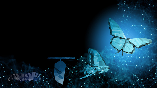 Background copy space Business transformation innovation change management technology to blockchain, ai like butterfly life cycle imply with success future digitalization evolution leadership strategy