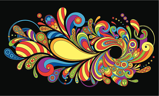 background in a retro style - hippie fashion stock illustrations, clip art, cartoons, & icons