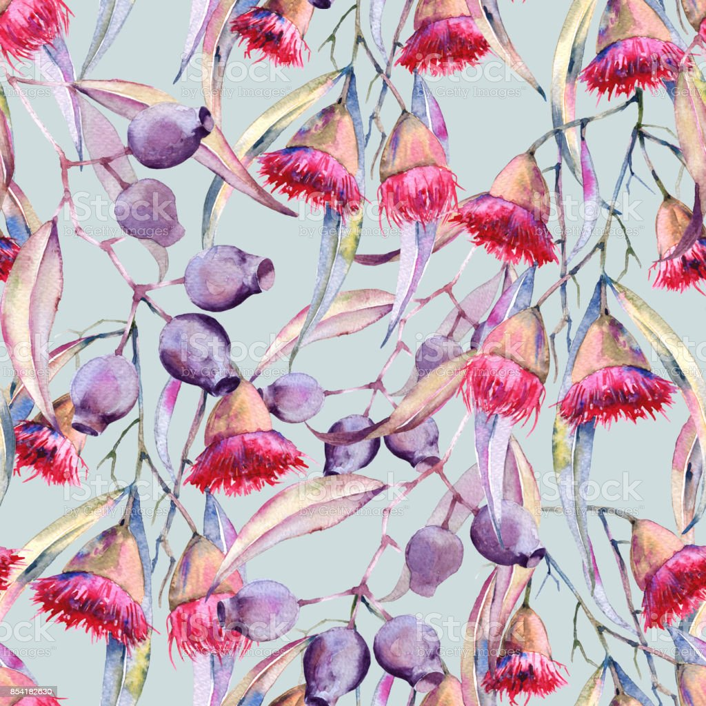 Background is a branch of gum flowers. Seamless pattern. vector art illustration